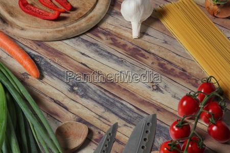arrangement of cooking ingredients