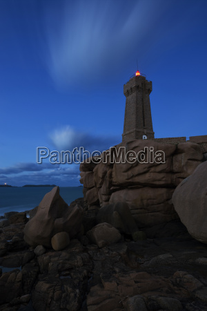 the ploumanach lighthouse at night at