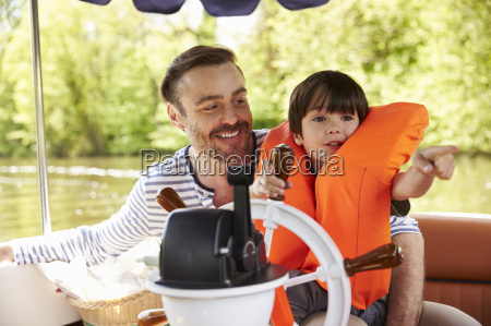 father and son enjoying day out