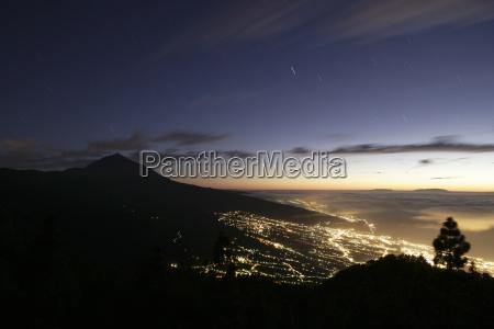 spain tenerife orotava valley at night