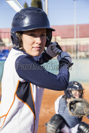female batter ready to hit the