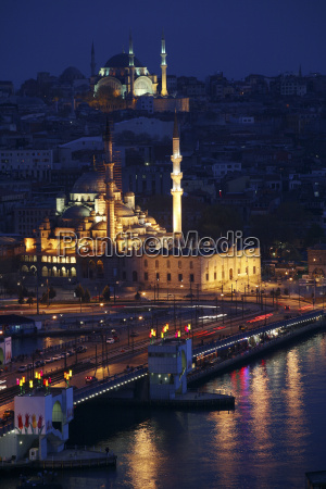 turkey istanbul view to lighted haghia