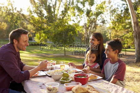 mixed race family enjoying a picnic