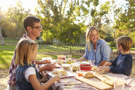 young white family enjoying a picnic