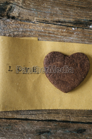 heart shaped chocolate shortbread on paper