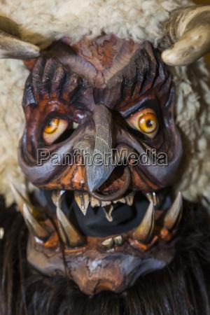handcrafted wooden krampus mask