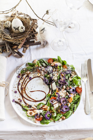 colourful salad plate with smoked salmon