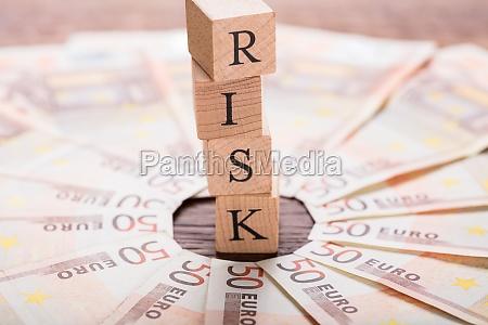 risk concept on wooden desk