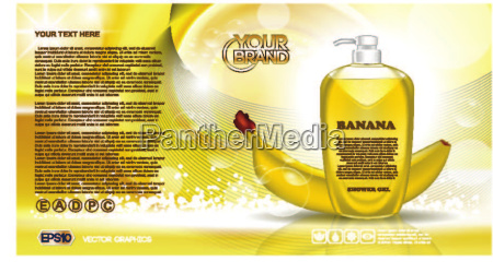 digital vector yellow shower gel cosmetic