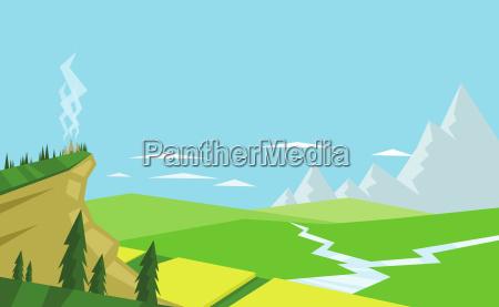 digitaler, vektor, abstrakter, hintergrund, mit, bäumen - 20642723