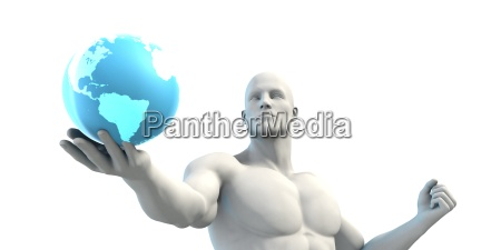 businessman working with global technology