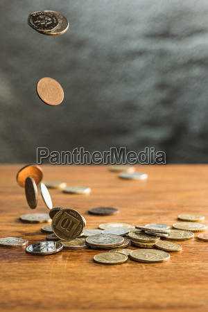 the silver and golden coins and