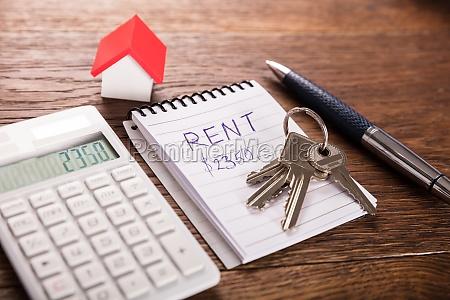 rent house concept on wooden desk