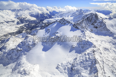 aerial view of peak ferra covered