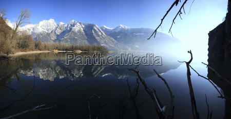 panoramic view of lake mezzola in