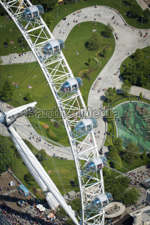 aerial view of the london eye