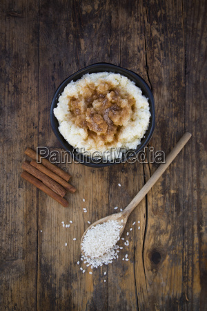 bowl of milk rice pudding with