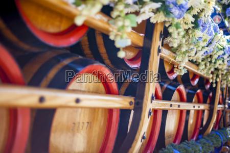 germany bavaria munich wooden barrels on