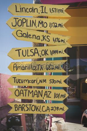 usa arizona seligman signpost at route