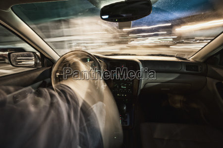 interior of car driving through city