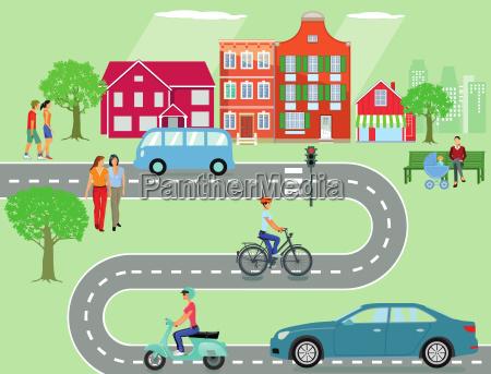 gemeinde mit strassenverkehr und personen