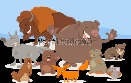 wild animal characters cartoon