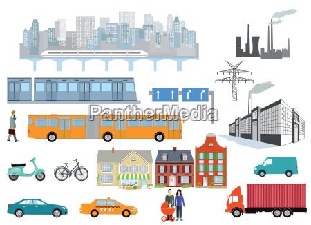 gemeinde mit strassenverkehr transport und industrie