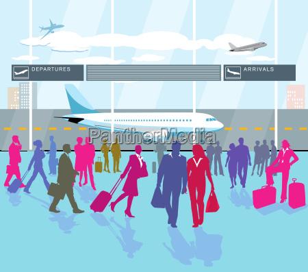 flughafen passagier terminal und reisende personen