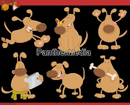 dog cartoon characters set