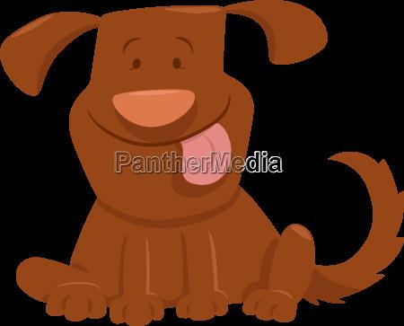 funny dog with tongue cartoon