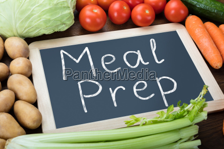 meal preparation words on slate with