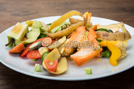 vegetable and fruit peelings on plate