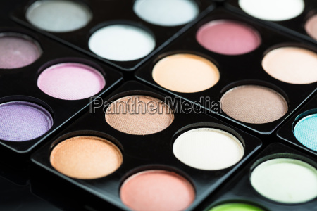 close up of eye shadow palette