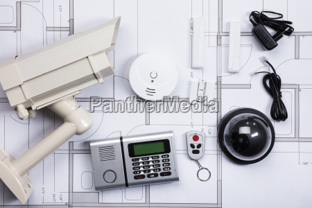security equipments on blueprint