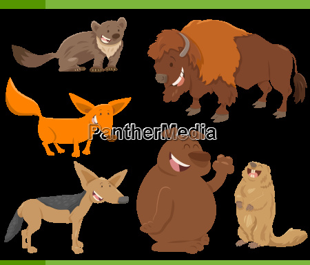 cute wild animal characters set