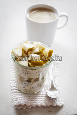 glass of overnight oats with chia