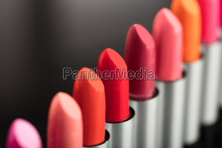 close up of colorful lipstick