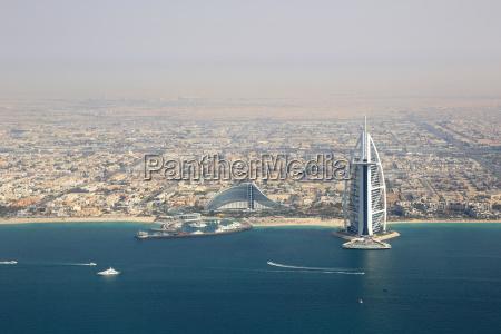 dubai burj al arab hotel luftaufnahme