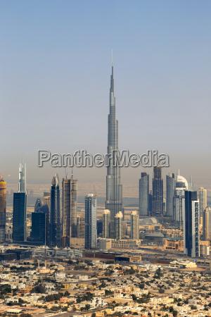 dubai burj khalifa hochhaus downtown luftaufnahme