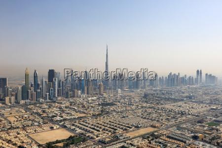 dubai skyline burj khalifa downtown luftaufnahme
