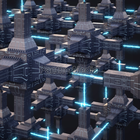 futuristic energy network 3d rendering