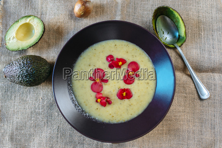 cream of avocado soup garnished with