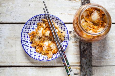 homemade korean kimchi with chinese cabbage