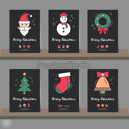weihnachtsgrusskarte oder einladungsset weihnachten elemente modernen