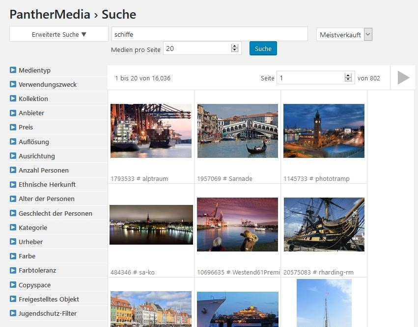 You can search and purchase images directly via the Plugin